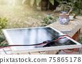 Solar panel setting up in garden 75865178
