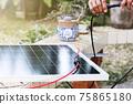 Hands set up solar system on blurred garden background 75865180