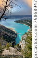 View on Guadalest water reservoir with turquoise water in Alicante province Spain 75868947
