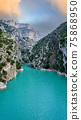 View on Guadalest water reservoir with turquoise water in Alicante province Spain 75868950