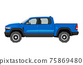 Pickup drawing. Off-road car in cartoon style. Isolated vehicle art for kids bedroom decor. Side view of blue SUV. Truck for nursery decor 75869480