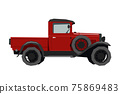 Nursery retro truck drawing. Pickup car in cartoon style. Isolated vehicle print for kids game room decor. Side view of vintage automobile. Classic red auto for toddler wall art 75869483