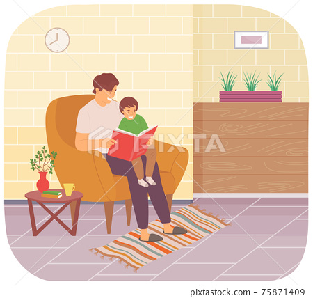 Father in armchair reading book to his son. Boy smiling and sitting on his dad s lap in living room 75871409