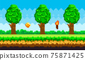 Pixel-game background with coins flying in sky. Pixel art game scene with green grass and tall trees 75871425