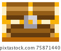 Wooden closed chest for pixel-game design. Pixel art icon. Pirate chest pixelated secret reward box 75871440