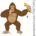 King kong in pixel game layout design. Gorilla attacks humanity, holds girl and car in his hands 75871441