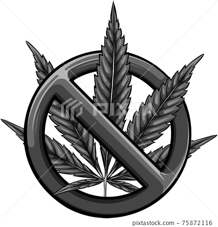 design Sign of prohibition cannabis. Red sign ban marijuana. Vector illustration 75872116