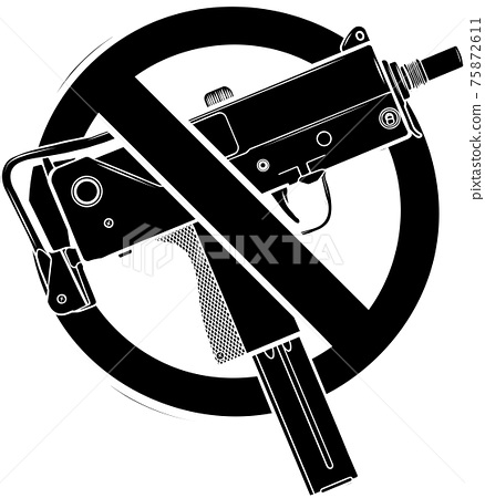 black silhouette of vector illustration no guns or firearms allowed 75872611