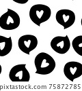 Speech bubble icon with heart inside on white background. Vector illustration. 75872785