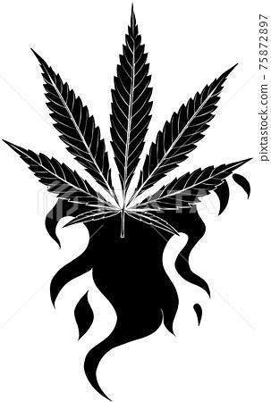 black silhouette of leaf hemp fiery vector illustration design 75872897