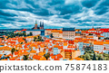 Church Saint Vitus, Ventseslaus and Adalbert and area Lesser Town of Prague. Czech Republic. 75874183