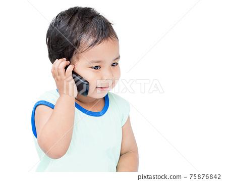 Cute Boy Speaking by cellular Phone 75876842