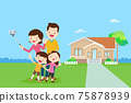Happy Family Making Selfie background of home 75878939