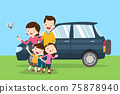 Happy Family Making Selfie background of car 75878940