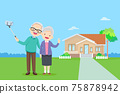 Elderly couple making selfie background of home 75878942