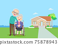 elderly couple in the background of home 75878943