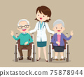 doctor woman and elderly sitting on wheelchair victory hand 75878944
