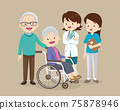 doctor team and elderly couple sitting on wheelchair 75878946
