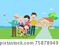 Big Family Making Selfie background of home 75878949