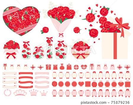 카네이션과 장미 꽃 생화 선물의 일러스트 세트 어머니의 날에주는 꽃 75879236