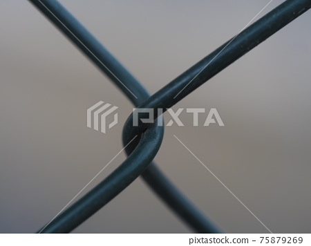 Close up of green metal wire fence twist on beige bokeh background. Macro photograph of iron mesh. Selective focus 75879269
