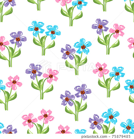 Floral seamless pattern with small wild pink, blue and violet flowers green leaves on white background. Classic blooming spring decorative texture, retro vintage style. EPS10 vector 75879485