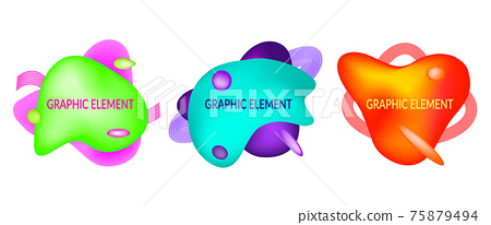 Set of abstract flowing liquid geometric shapes in vivid bright color gradient. Fluid design elements for minimal banner, logo, flyer or presentation. Futuristic trendy dynamic Eps10 vector. 75879494
