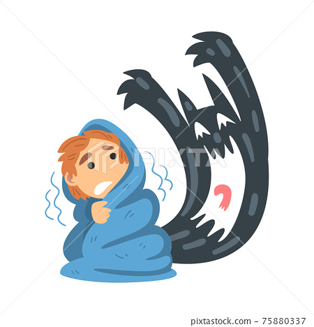 Childhood Fear with Scary Monster Frightening Little Boy Covered with Blanket Vector Illustration 75880337