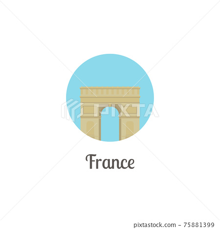 France arch landmark isolated round icon 75881399