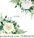 Vector, floral watercolor editable wedding invite, save the date card, banner, greeting design. Green fern leaves, eucalyptus branches, light yellow roses, white camellia flowers bouquet border, frame 75883028