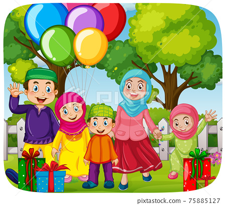 Cute muslim family celebrating party 75885127
