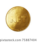 Nft - non fungible token concept. 3d render - Coin with inscription NFT 75887404