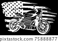 white silhouette of motorbike with american flag on black background 75888877