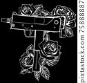 white silhouette of weapont Uzi with red roses on black background 75888887