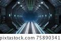 Corridor spaceship Interior. 3d rendering. 75890341