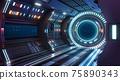 Corridor spaceship Interior. 3d rendering. 75890343