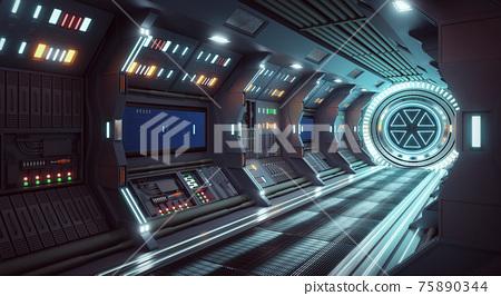 Corridor spaceship Interior. 3d rendering. 75890344