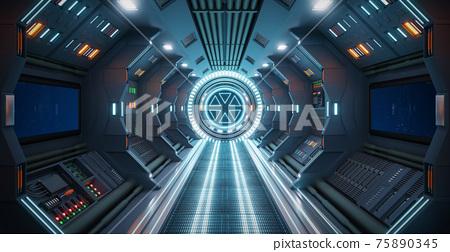 Corridor spaceship Interior. 3d rendering. 75890345