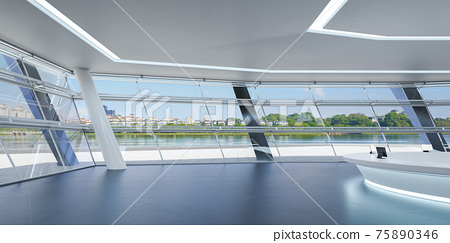 Modern commercial area with white reception desk. 3d 75890346