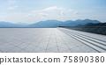 Empty triangle shape stone tiles floor 75890380