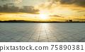 Empty triangle shape stone tiles floor 75890381