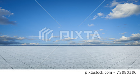 Empty triangle shape stone tiles floor 75890386