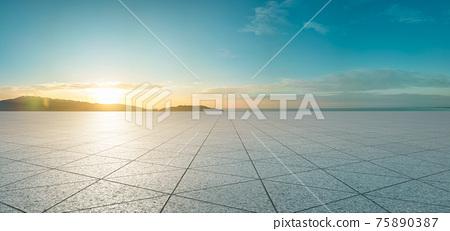 Empty triangle shape stone tiles floor 75890387