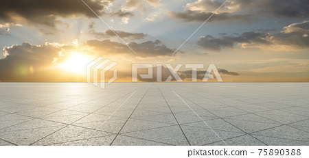 Empty triangle shape stone tiles floor 75890388