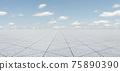 Empty triangle shape stone tiles floor 75890390