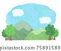 藍天山風景插畫素材水彩風格 75891589