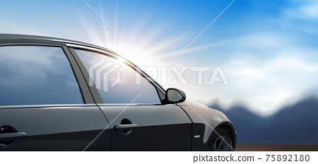 Black car with outdoor background 75892180