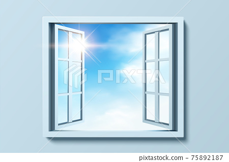 Open window with cloudy sky 75892187