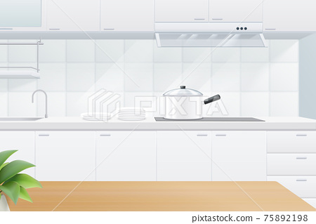 Wooden table on kitchen background 75892198
