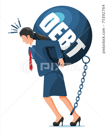 Businesswoman chained to big heavy debt weight 75892764